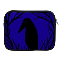Halloween Raven   Deep Blue Apple Ipad 2/3/4 Zipper Cases by Valentinaart