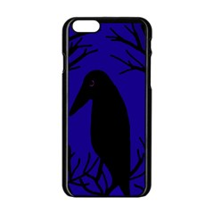Halloween Raven   Deep Blue Apple Iphone 6/6s Black Enamel Case by Valentinaart