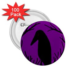 Halloween Raven   Purple 2 25  Buttons (100 Pack)  by Valentinaart