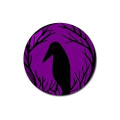 Halloween Raven   Purple Magnet 3  (round) by Valentinaart