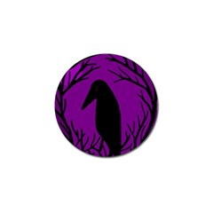 Halloween Raven   Purple Golf Ball Marker by Valentinaart