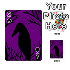 Halloween Raven   Purple Playing Cards 54 Designs  by Valentinaart