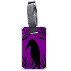 Halloween Raven   Purple Luggage Tags (two Sides) by Valentinaart