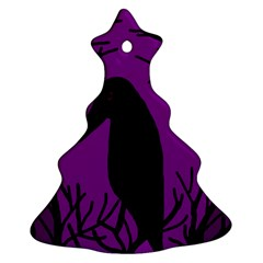 Halloween Raven   Purple Christmas Tree Ornament (2 Sides) by Valentinaart