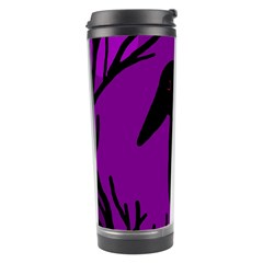 Halloween Raven   Purple Travel Tumbler by Valentinaart