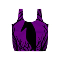 Halloween Raven   Purple Full Print Recycle Bags (s)  by Valentinaart