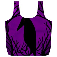 Halloween Raven   Purple Full Print Recycle Bags (l)  by Valentinaart