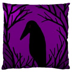 Halloween Raven   Purple Large Flano Cushion Case (two Sides) by Valentinaart