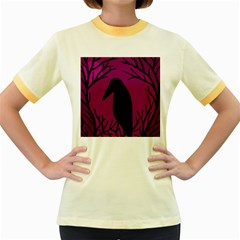 Halloween Raven   Magenta Women s Fitted Ringer T Shirts by Valentinaart