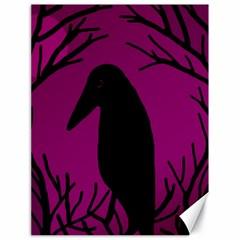 Halloween Raven   Magenta Canvas 18  X 24   by Valentinaart
