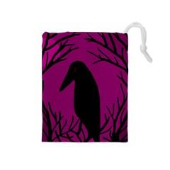 Halloween Raven   Magenta Drawstring Pouches (medium)  by Valentinaart