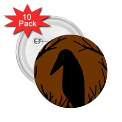 Halloween Raven   Brown 2 25  Buttons (10 Pack)  by Valentinaart
