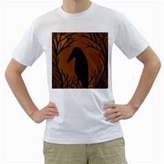 Halloween Raven   Brown Men s T Shirt (white) (two Sided) by Valentinaart