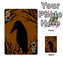 Halloween Raven   Brown Playing Cards 54 Designs  by Valentinaart