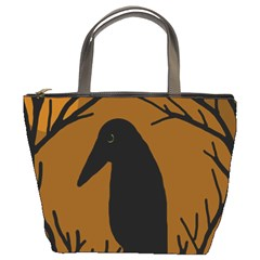 Halloween Raven   Brown Bucket Bags by Valentinaart