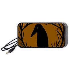 Halloween Raven   Brown Portable Speaker (black)  by Valentinaart