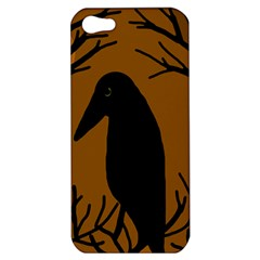 Halloween Raven   Brown Apple Iphone 5 Hardshell Case by Valentinaart