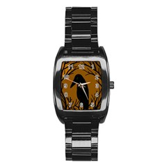 Halloween Raven   Brown Stainless Steel Barrel Watch by Valentinaart