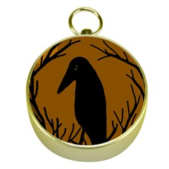 Halloween Raven   Brown Gold Compasses by Valentinaart