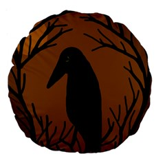 Halloween Raven   Brown Large 18  Premium Flano Round Cushions by Valentinaart