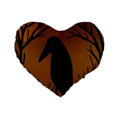 Halloween Raven   Brown Standard 16  Premium Flano Heart Shape Cushions by Valentinaart