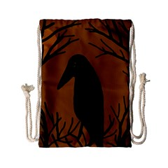 Halloween Raven   Brown Drawstring Bag (small) by Valentinaart