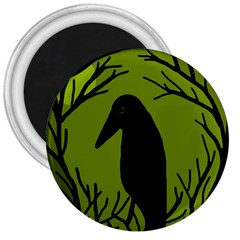 Halloween Raven   Green 3  Magnets by Valentinaart