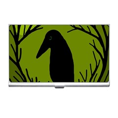 Halloween Raven   Green Business Card Holders by Valentinaart