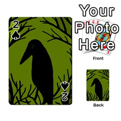 Halloween Raven   Green Playing Cards 54 Designs