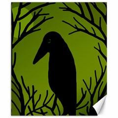 Halloween Raven   Green Canvas 8  X 10  by Valentinaart