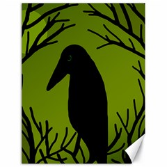 Halloween Raven   Green Canvas 18  X 24   by Valentinaart