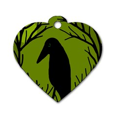Halloween Raven   Green Dog Tag Heart (one Side) by Valentinaart