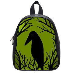 Halloween Raven   Green School Bags (small)  by Valentinaart
