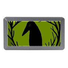 Halloween Raven   Green Memory Card Reader (mini) by Valentinaart