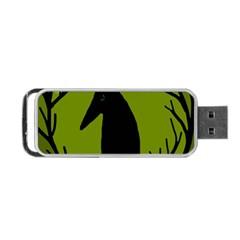 Halloween Raven   Green Portable Usb Flash (one Side) by Valentinaart