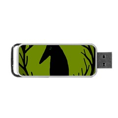 Halloween Raven   Green Portable Usb Flash (two Sides) by Valentinaart