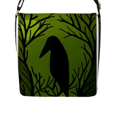 Halloween Raven   Green Flap Messenger Bag (l)  by Valentinaart