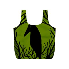 Halloween Raven   Green Full Print Recycle Bags (s)  by Valentinaart