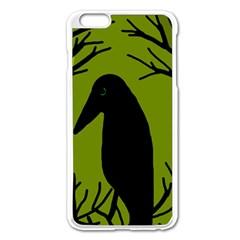 Halloween Raven   Green Apple Iphone 6 Plus/6s Plus Enamel White Case by Valentinaart