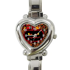 Halloween Decorative Pumpkin Heart Italian Charm Watch by Valentinaart