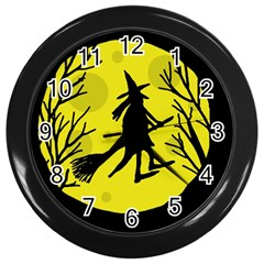 Halloween Witch   Yellow Moon Wall Clocks (black) by Valentinaart