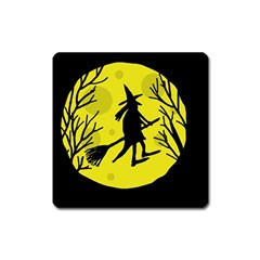 Halloween Witch   Yellow Moon Square Magnet by Valentinaart