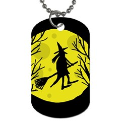 Halloween witch - yellow moon Dog Tag (One Side) by Valentinaart