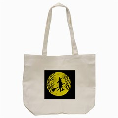 Halloween Witch   Yellow Moon Tote Bag (cream) by Valentinaart
