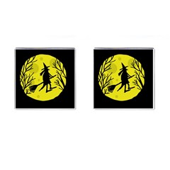 Halloween Witch   Yellow Moon Cufflinks (square) by Valentinaart