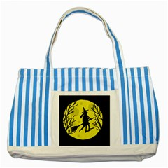 Halloween Witch   Yellow Moon Striped Blue Tote Bag by Valentinaart