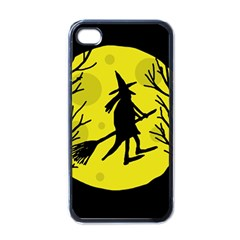 Halloween Witch   Yellow Moon Apple Iphone 4 Case (black) by Valentinaart