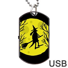 Halloween Witch   Yellow Moon Dog Tag Usb Flash (two Sides)  by Valentinaart