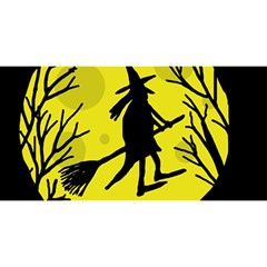 Halloween Witch   Yellow Moon You Are Invited 3d Greeting Card (8x4) by Valentinaart