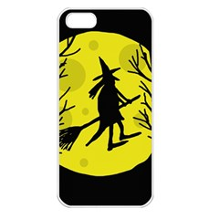 Halloween witch - yellow moon Apple iPhone 5 Seamless Case (White)
